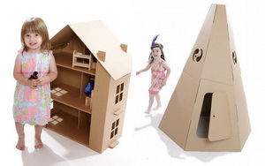 домик для детей из картонной коробки