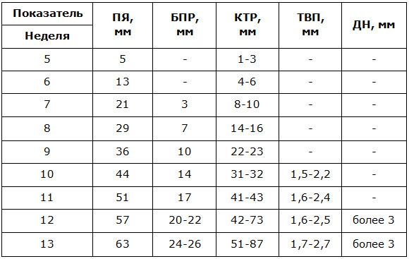 Таблица первой фетометрии плода