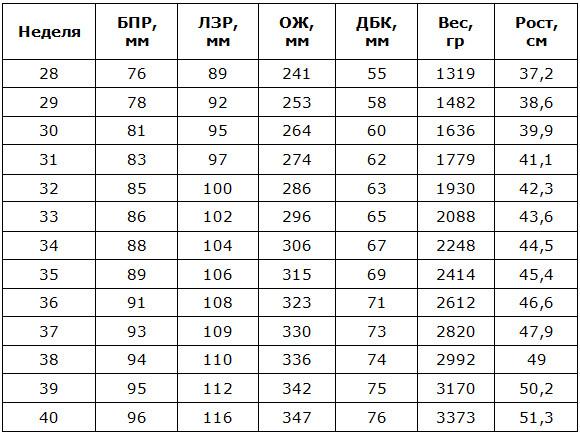 Таблица фетометрии плода