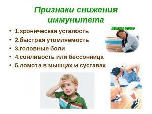 основные признаки ухудшения иммунитета