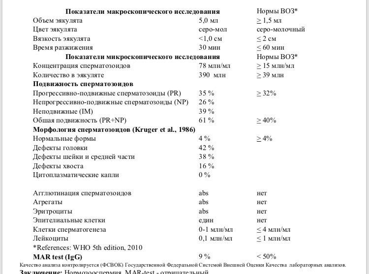 Результаты спермограммы агглютинация хвостами